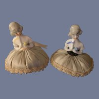 Old China Head Half Doll Pincushion Sets Sweet