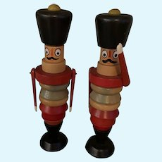 Old Wood Czechoslovakia Wooden Stacking Soldiers Toy Doll