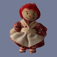 Vintage Miniature Raggedy Ann Doll Cloth Doll Dollhouse