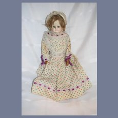 """Antique Doll Papier Mache Old Cloth Leather Body Glass Eyes 18"""" Tall"""