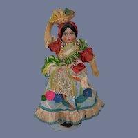 Wonderful Old Cloth Doll Felt Clothing Holding Basket of Fruit