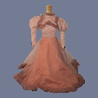 Wonderful Old Doll Dress Fashion Doll Hand Made Lace