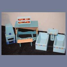 HUGE LOT Dora Kuhn Mixed Lot Wood German Dollhouse Miniature Furniture Painted