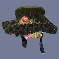 Wonderful Velvet & Beaded High Bonnet W/ Flowers