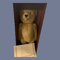 Vintage Steiff Teddy Bear Jointed In Original Box W/ Papers Button Tag
