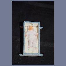 Sweet Miniature Wood Painted Cradle W/ Miniature Baby Doll Artist Dollhouse