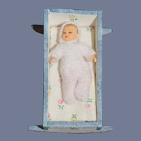 Sweet Miniature Wood Painted Cradle W/ Miniature Baby Doll Artist Dollhouse