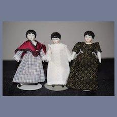 Antique Miniature Doll Dollhouse China Head THREE Dolls