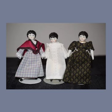 Antique Miniature Doll Dollhouse China Head THREE Dolls