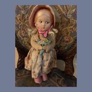 Old Cloth Doll  Felt W/ Original Clothing Character