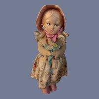 Old Cloth Doll  Felt W/ Original Clothing Character