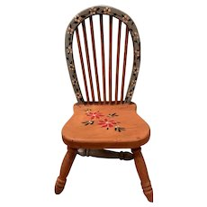 Old Wood Tole Painted Spindle Back Doll Chair