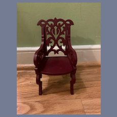 Vintage Doll Chair Ornate Wood Carved Miniature