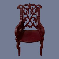 Vintage Doll Chair Ornate Wood Carved Miniature