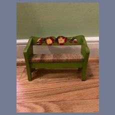Sweet Old Doll Tole Painted Bench Miniature Dollhouse Straw Bottom