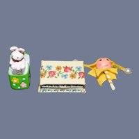 Sweet Miniature Doll Artist Toys Jack in the Box, Rabbit Marroit and Covered Box Dollhouse