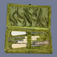 Old Sewing Kit In Original Velvet Box Doll Display