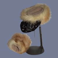 Sweet Vintage Fur Muff and Hat For Fashion Doll