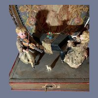 Wonderful Antique Automaton Wind up/ Crank Dolls Playing Violin and Piano Stage Doll Mechanical