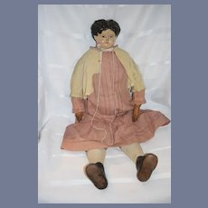 "Antique HUGE Papier Mache Doll 29 1/2"" Tall W/ A.W. Tag Antique Clothing"