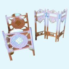 Wonderful Old Doll Painted Metal Furniture Miniature Bed and Folding Screen