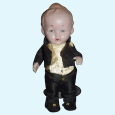 Antique Doll German Pink Tint All Bisque Character Doll Dressed In Original Costume