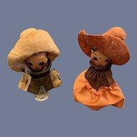 Vintage Miniature Cowboy Cowgirl Wood Head Perfume Bottle Set