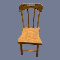 Old Sweet Wood Petite Doll Chair Spindle Back
