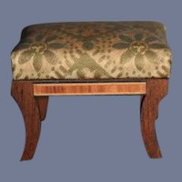 Small Dollhouse Footstool with Upholstered Top