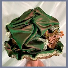 Green Fabric Doll Bonnet with Lace Details