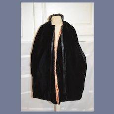Old Long Doll Black Velvet Satin Lined Cape Coat