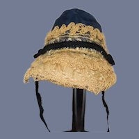 Wonderful Doll Bonnet Hat Made W/ Antique Material Wonderful Tall Brim87