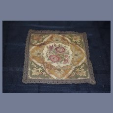 Wonderful Old Doll Tapestry Rug Miniature Dollhouse Gorgeous