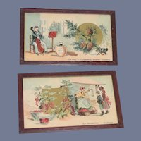 Old Miniature Doll Wood Framed Pictures Set Pair Dollhouse French