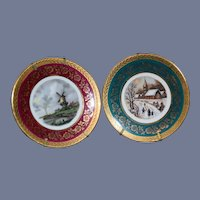 Set of 2 French Limoges Porcelain  Dollhouse Landscape Motif Painted Plates with Gold Detailing Miniature