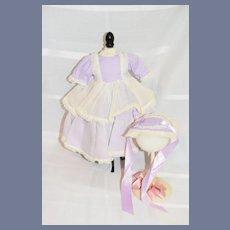 Old Doll Sweet Dress W/ Matching Bonnet Hat Sweet