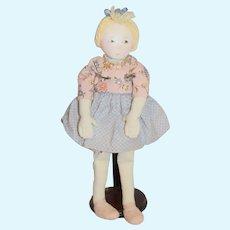 Artist Doll Cloth Doll Oil Cloth Face Signed Rebecca Swanson