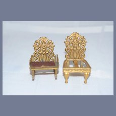 Two Old Doll Matching Metal Chairs Miniature Dollhouse Rocking Chair and Side Chair Ornate