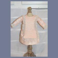 Sweet Satin Doll Dress W/ Lace and Gathers Drop Waist