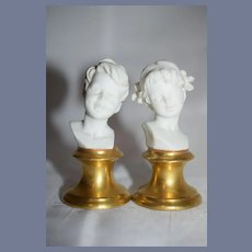 Vintage Miniature Bust Pair Girl Boy Doll Dollhouse For Pedestal Bisque