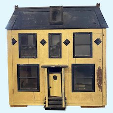 Antique Dollhouse Miniature For Doll Wood Glass Two Story
