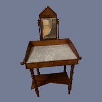 Antique Doll Size Bamboo Vanity W/ Mirror Hanging Racks and Drawer Wonderful Marble Top