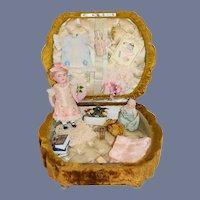 Antique Doll All Bisque Miniature 257 SWC  Doll Trousseau W/ Accessories