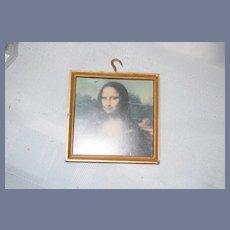Vintage Dollhouse Miniature Doll Portrait Mona Lisa Blue Boy Reversible Picture