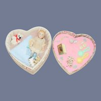 Antique Doll All Bisque Miniature Character Baby W/ Trousseau Dollhouse