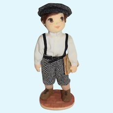 Vintage Artist Doll Juliet Lawson Cloth Felt Doll Newspaper Boy