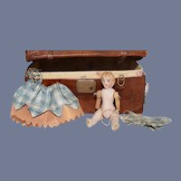 Miniature All Bisque Doll W/ Miniature Leather Trunk for Dollhouse