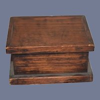 Antique Doll Miniature Wood Trunk Hinged Dollhouse