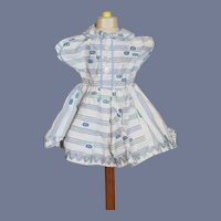Vintage Doll Dress White with Blue Stripe and Detail