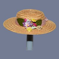 Vintage Straw Doll Hat with Flowers and Pink Hat Band